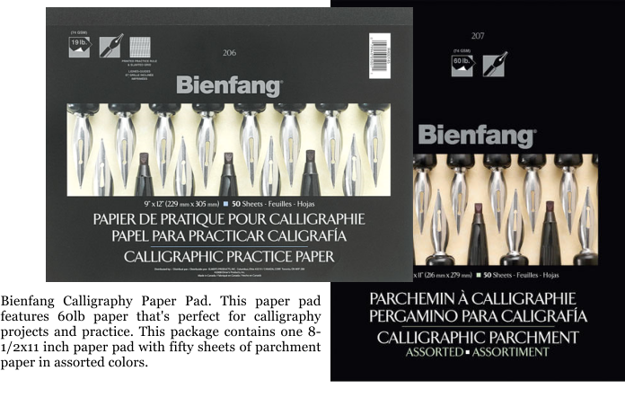 Bienfang Calligraphy Paper Pad. This paper pad features 60lb paper that's perfect for calligraphy projects and practice. This package contains one 8-1/2x11 inch paper pad with fifty sheets of parchment paper in assorted colors.