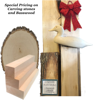 Special Pricing on Carving stones  and Basswood